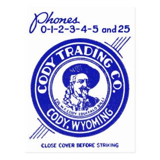 Carte Postale Vintage Old Matchbook Cody Trading Company