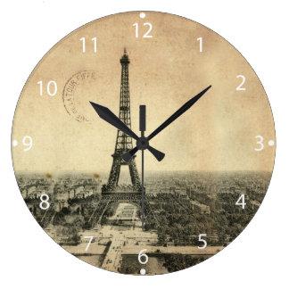 Carte postale vintage rare avec Tour Eiffel à Grande Horloge Ronde