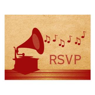 Carte postale vintage rouge du phonographe RSVP