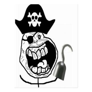 Carte Postale Visage comique de pirate pour toujours seul