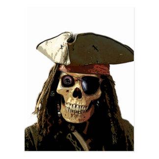Carte Postale Visage de crâne de Posterized de pirate