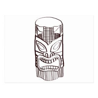 Carte Postale Visage fâché de Tiki
