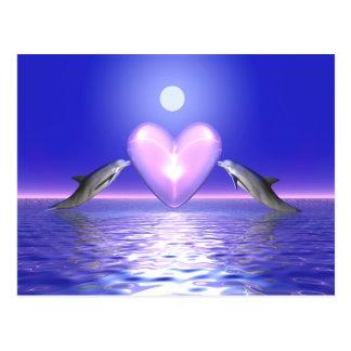 Carte Postale Visiteurs de coeur - dauphins