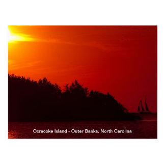 Carte Postale Voile de coucher du soleil - île d'Ocracoke