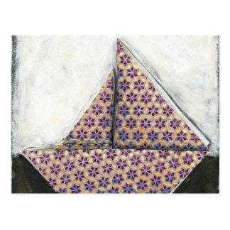 Carte Postale Voilier d'origami sur le papier de conception