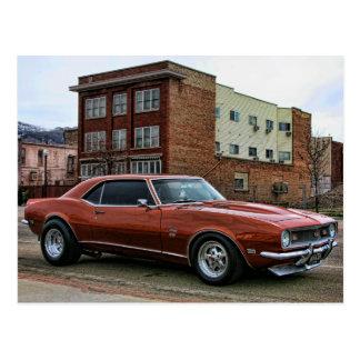Carte Postale voiture chevy de muscle du camaro 1968