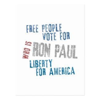 Carte Postale Vote libre de personnes pour Ron Paul