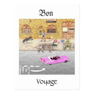 Carte Postale Voyage de fève dans Cadillac rose