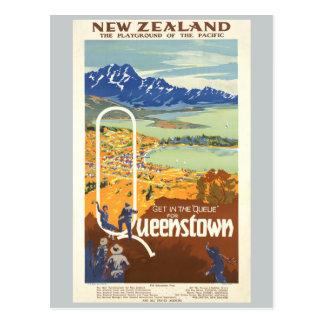 Carte Postale Voyage vintage de Queenstown, Nouvelle Zélande