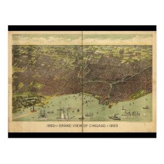 Carte Postale Vue 1893 grande de Chicago l'Illinois