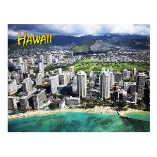 Carte Postale Vue aérienne de plage de Waikiki, Oahu, Hawaï