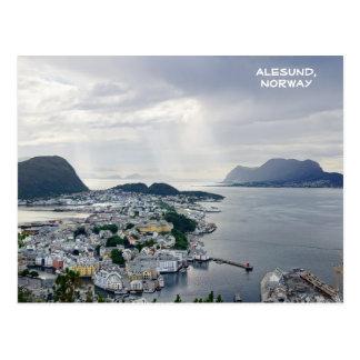 Carte Postale Vue d'Alesund, mer de Norvège, Norvège