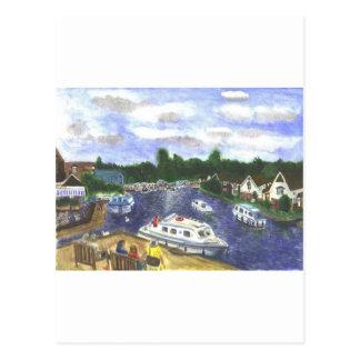 Carte Postale Vue de pont Norfolk Broads de Wroxham