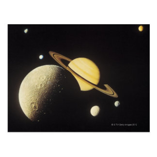 Carte Postale vue des planètes dans le système solaire