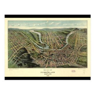 Carte Postale Vue d'oeil d'oiseau de Cumberland le Maryland