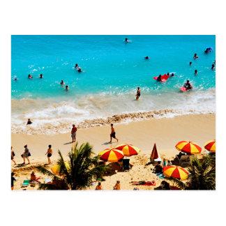 Carte Postale Vue élevée de scène de plage de Waikiki, Honolulu