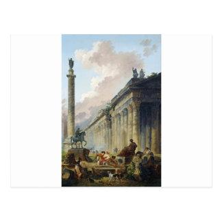 Carte Postale Vue imaginaire de Rome avec la statue équestre