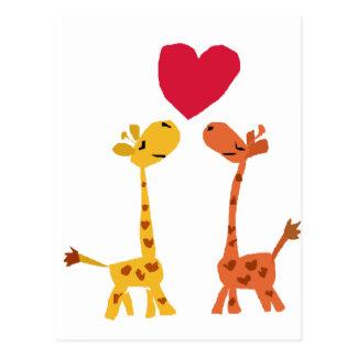 Carte Postale VW bande dessinée drôle d'amour de girafe
