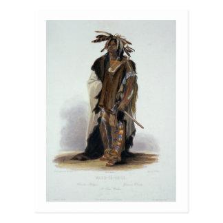 Carte Postale Wahk-Ventre-GE-Li, un guerrier de Sioux, plaquent