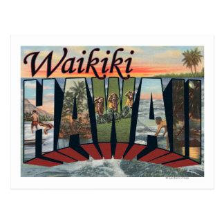 Carte Postale Waikiki, Hawaï - grandes scènes de lettre