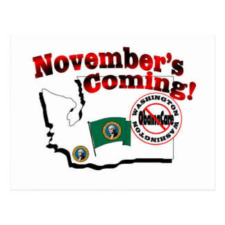 Carte Postale Washington anti venir d'ObamaCare - de novembre !