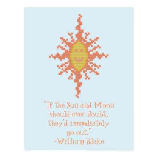 Carte Postale William Blake Sun et citation de confiance de lune