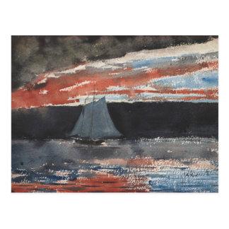 Carte Postale Winslow Homer - schooner au coucher du soleil
