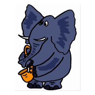 Carte Postale XX éléphant jouant le saxophone