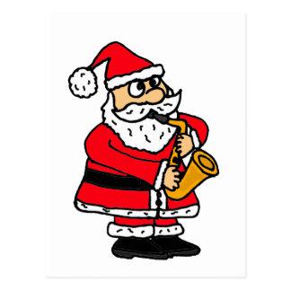 Carte Postale XX le père noël drôle jouant le saxophone