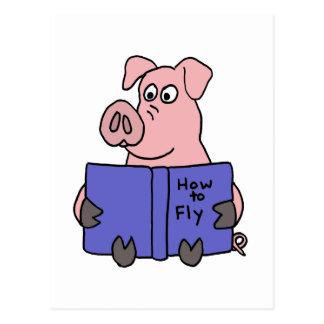 Carte Postale XX lecture de porc comment au livre de mouche