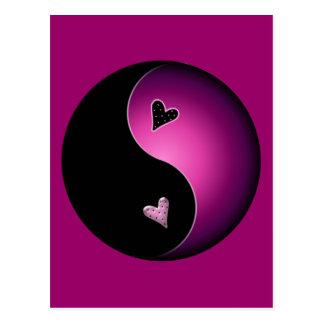 Carte Postale yang rose de yin