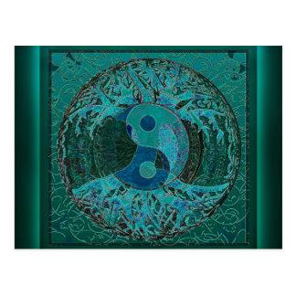 Carte Postale Yin vert Yang
