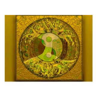 Carte Postale Yin Yang dans des couleurs d'or