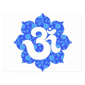 Carte Postale Yoga OM dans Lotus bleu-foncé