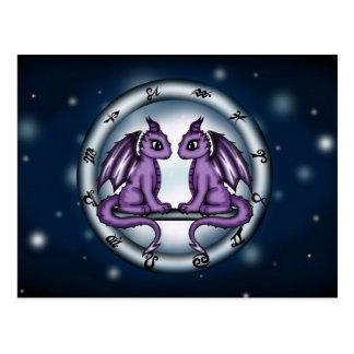 Carte Postale Zodiaque de Gémeaux de dragon