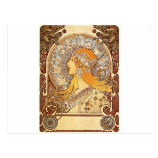 Carte Postale Zodiaque par Alphonse Mucha