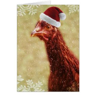 Carte Poulet hivernal de casquette de Père Noël de