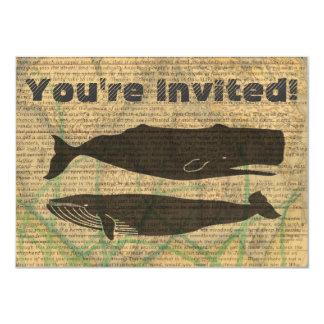 Carte Pour la plage rustique nautique de baleine vintage