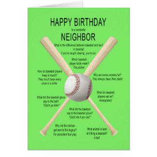 Carte Pour le voisin, plaisanteries de base-ball