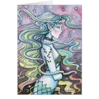 Carte pour notes céleste de carte d'art de sirène