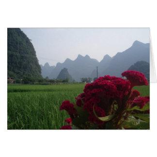 Carte pour notes chinois de fleur