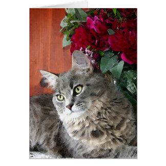 Carte pour notes de chat et de pivoines