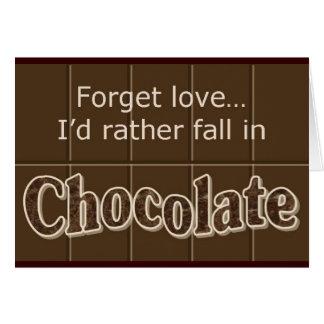 Carte pour notes de chocolat
