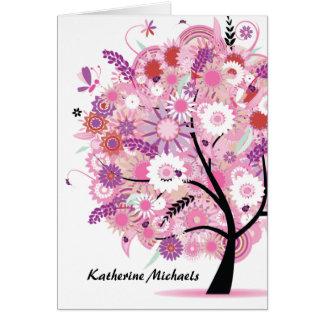 Carte pour notes de floraison d'arbre