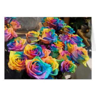 Carte pour notes de roses d'arc-en-ciel