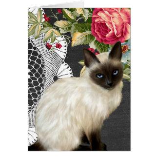 Carte pour notes de tableau avec le chat siamois