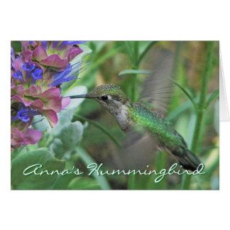 Carte pour notes du colibri d'Anna