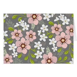 Carte pour notes floral de jardin rose de pavot