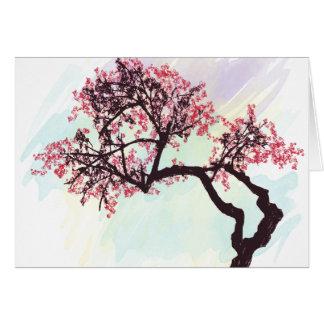 Carte pour notes japonais de fleur de cerisier