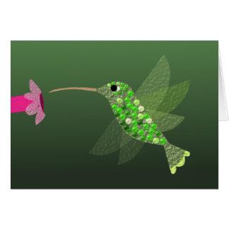 Carte pour notes vide de colibri